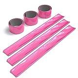 EAZY CASE 6X Reflektorband, Reflektoren Set, reflektierendes Schnapparmband, Sicherheitsarmband, Reflektorenbänder – ideal zur Erhöhung der Sichtbarkeit, nach DIN EN 13356, Neon Pink