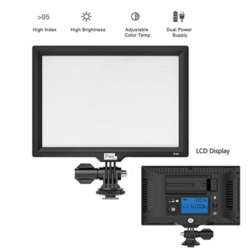 Pixel P20 Caméra/Vidéo Lampe éclairage Professionnel pour DSLR Caméra DV Caméscope Canon Nikon Sony Panasonic Samsung Éclairage Vidéo Commutable Entre la Lumière Douce et Lumière Directe 3200K~ 5600K