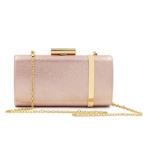 Freie Liebe Damen Abend-Braut-Abschluss-Handtasche Schultertasche Metallic Clutch Geldbörse, Beige (champagnerfarben), Einheitsgröße -
