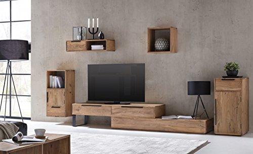 Woodkings Wohnwand Auckland 5teilig Akazie, Lowboard, 2Schubkästen, TV-Bank variabel erweiterbar,...