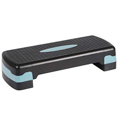 Ultrasport Step Steppbrett, Aerobic Fitness Stepper, Höhenverstellbar, Schwarz/Hellblau