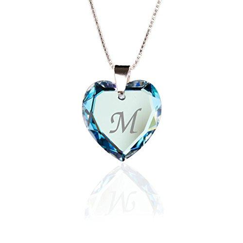 Kristallwerk Kinderkette 925 Silber mit Swarovski Elements Herzanhänger Farbe Blue AB und Gravur Buchstabe M als Geschenk oder zum Geburtstag