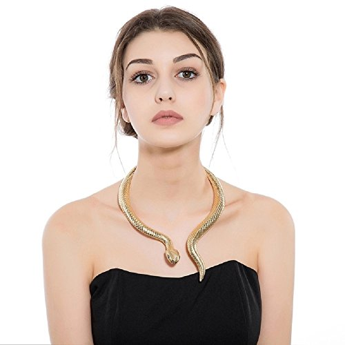 Designer Gold-tone Snake Stylish Necklace with Black Eyes Curved Bar Design Adjustable...