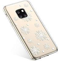 Uposao Handyhülle Huawei Mate 20 Pro Schutzhülle Transparent Silikon Schutzhülle Handytasche Crystal Clear Durchsichtige Hülle TPU Cover Weich TPU Bumper Case,Weiß Schneeflocken