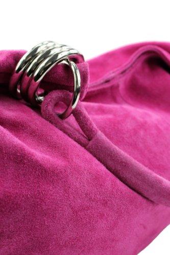 modamoda de - ital. Ledertasche Schultertasche Shopper Damentasche Wildleder Groß T02 Pink
