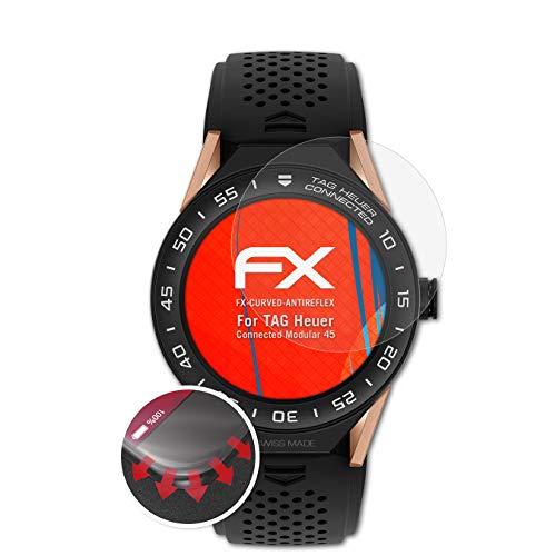 atFoliX Schutzfolie passend für Tag Heuer Connected Modular 45 Folie, entspiegelnde & Flexible FX Bildschirmschutzfolie (3X)