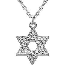 Dawapara Religieux Juif étoile de David Cristal Pendentif Hexagramme Magen  David Salomon Collier Amulette Femme Bijoux
