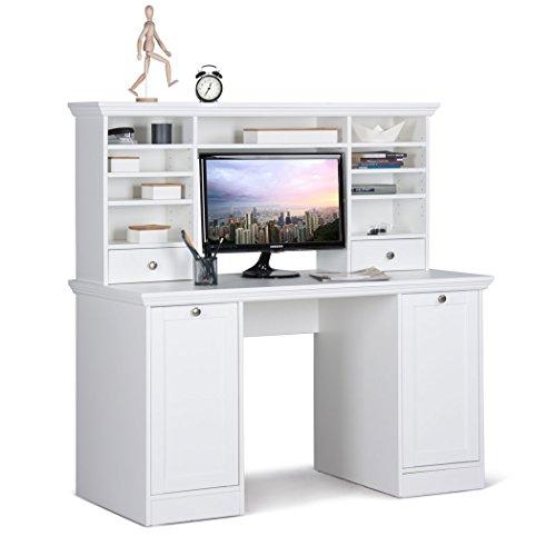Schreibtisch mit Aufsatz Landström 33 weiß 136x138x63 cm Computertisch Bürotisch PC-Tisch Jugendzimmer Arbeitszimmer Landhausmöbel