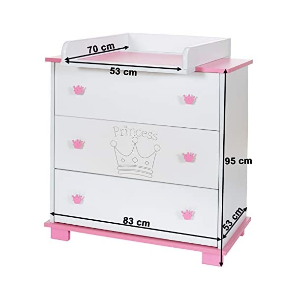 Baby Changing Chest Princess - Nursery Furniture Changer Unit With 3 Drawers - Baby Changing Table removeable LCP Kids® Princess wooden chest of drewers baby changing table Cute wood engraving of the crown application in the front of middle drawer 3 big sized drawers and a removable changing table unit and height of 95 cm 5