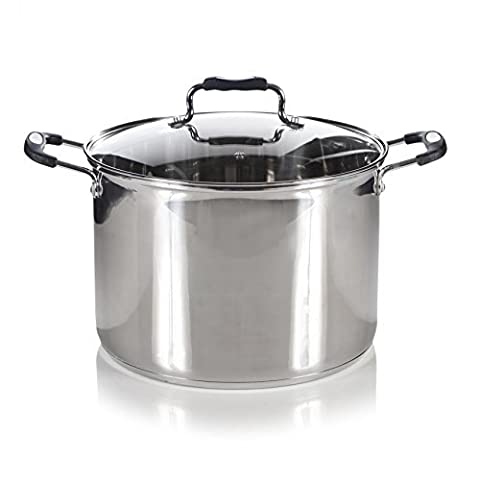 Royal Cuisine Induction Stainless Steel Deep Stock Pot with Glass Lid - 26cm by Dove Mill Kitchen