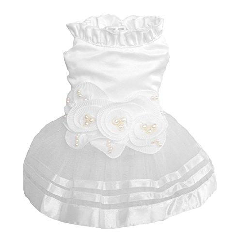 LANDUM Prinzessin Pet Hund Hochzeit Kleid Puppy Rock Kleidung Tutu Rock Braut Kostüm, weiß, ()