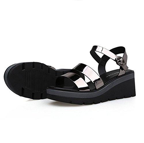 Damen Sandalen Schnalle Keilabsatz Spiegelleder Dicke Sohle Römische Stil Modische Schuhe RI
