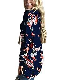 Minetom Femmes Veste Damassée Été Floral Imprimé Mousseline Kimono Veste Cardigan Outwear Blouse