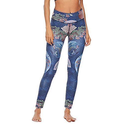 QINPIN Frauen chinesische Nationale Winddruck Hüfte Yoga Hosen Jogginghose XL