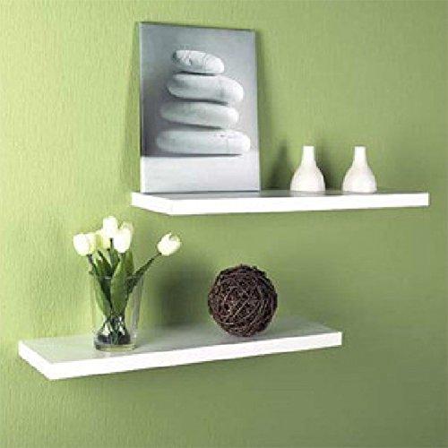 Best Value Here Set of 2 Floating Shelf Matt Finish White Storage Shelving Wall Mounted Shelves Bookcase (20cm, 50cm)