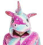 JXUFUFOO Pigiama Intero Unicorno Bambini Tutina Animali Cosplay Carnevale Halloween Bambina e Bambino,Unicorno Arcobaleno,3-4 Anni