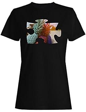 Rompecabezas playa imagen sueño piña camiseta de las mujeres d907f