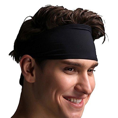 Qinlee Herren Stirnband Sport Schweißband für Laufen, Radfahren, Yoga, Basketball - Dehnbar Feuchtigkeit Wicking Haarband Sports Stirnband Einstellbare Schweißband für Herren Damen