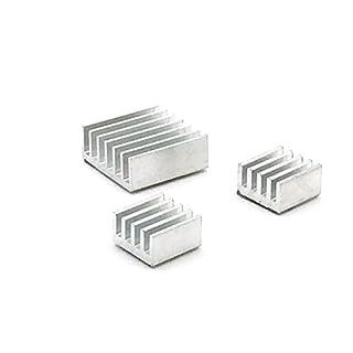 AptoFun 3er Set Passive Alu Kühlkörper aus Allu in verschiedenen Größen für Raspberry Pi B+ B Und Pi 2 Model B- zum Aufkleben (Silber)