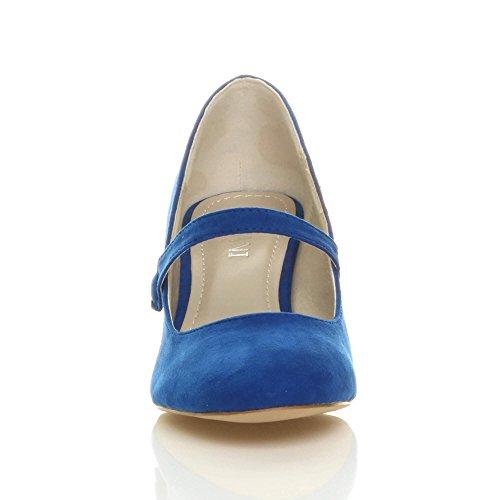 Donna media tacco mary jane lavoro festa elegante scarpe di moda taglia Blu cobalto scamosciata