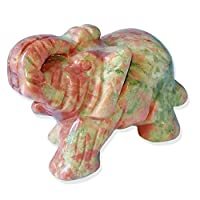 myonly Natural Crystal Elephant Gifts and Decor Healing Energy Crystal Gemstone Carved Elephant Statue Lucky Figurine Decoration Craft Ornament 1.5Inch