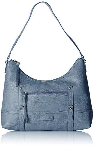 Tamaris Rene Hobo Bag 1066161 Damen Schultertaschen 34x26x12 cm (B x H x T), Blau (Denim 802) (Leder Bag Geprägtes Hobo)