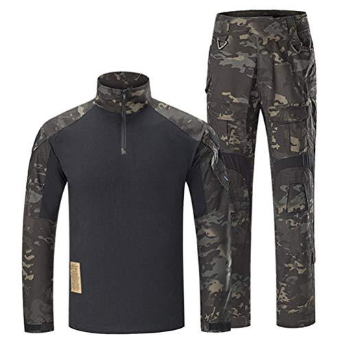 SGOYH Traje de Camuflaje de Uniforme Transpirable de Combate Transpirable Caza Paintball Disparo BDU Tactical Airsoft Camisas y Pantalones de Manga Larga (S,Negro-CP)