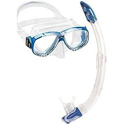 Cressi Perla & Gamma Kit de Máscara y Tubo, Unisex Adulto, Transparente/Azul, Talla Única