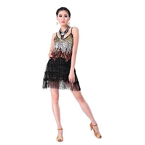 CoastaCloud Femme Mini Robe Latine Salsa Tango Rumba Danse Dress Paillettes à Bretelles Taille unique Noir