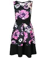 Womens Sleeveless Floral Print Bow Panel Contrast Hem Skater Flare Ladies Dress