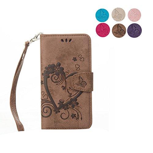 iPhone X Custodia, CXTcase Portafoglio in pelle PU Cover con Tasca per carta Chiusura Magnetica e Copertura Pieghevole Case per iPhone X 2017 Unicorno Glitter Rosa Marrone