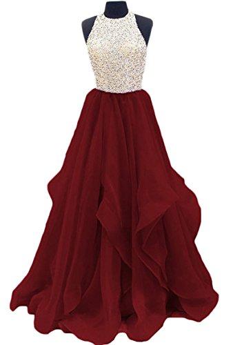 Preisvergleich Produktbild Lovelybride A Line Kristall Perlen Halfter Paillette Party Kleider Langes Ballkleid Kleid