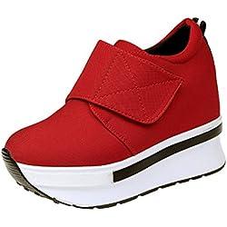 Zapatos de mujer Sneakers de mujer Zapatos individuales Botines Moda Porciones Plataforma Ponerse Deportes Corriendo Tacón oculto Casual Viajar Zapatos LMMVP (38, D)
