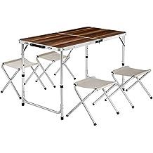 TecTake Mesa maleta 4 taburetes camping plegable portátil jardín picnic aluminio | plegada (largo x ancho x alto) 61x61x6,5 cm