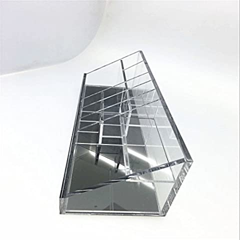 immi-living acrilico trucco tavolozza Organizer Display Stand Case, Acrilico, Black Mirror in Bottom, 12x3.5x3.5 inches