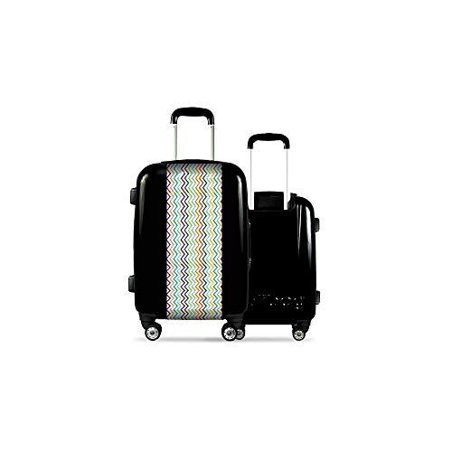 Valise CALIBAG (Taille M) Traits Multicolores Noir