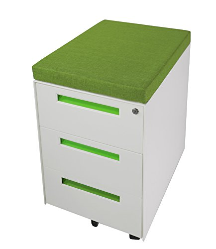 Lüllmann Profi Stahl Büro Rollcontainer Bürocontainer 3 Schubladen mit grüner Sitzauflage 620...