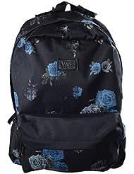 Vans–Rosetón Negro y Azul Floral impresión mochila