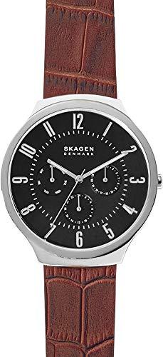 Skagen Hommes Analogique Quartz Montre avec Bracelet en Cuir véritable SKW6536