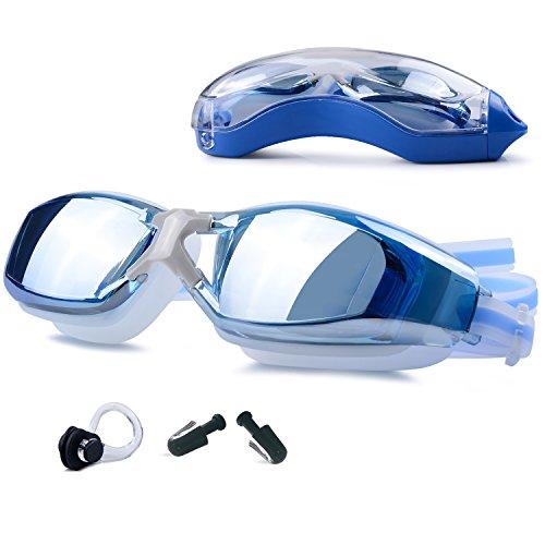 GIVBRO Schwimmbrille Anti-Beschlag 100% UV-Schutz- Wasserdicht- Unisex Taucherbrille+ 2 ×...