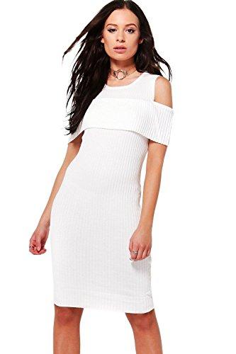 blanc Femmes Una Robe Pull En Maille Côtelée À Volants Et Épaules Dénudées Blanc