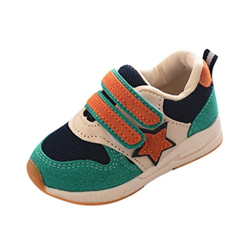 BURFLY Kids Toddlers Baby Boys Girls Trainers Sneakers, Star Patchwork Running Sport Flats Fastening Mesh Shoes, for Age 1-6 Years Children, Candy Color, Size 4.5-9 UK Child