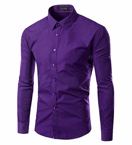 Men's Vestidos Camisa Long Sleeve Slim Fit Casual Shirts purple