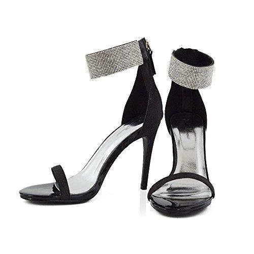 ESSEX GLAM Donna Diamante Cinturino alla Caviglia Stiletto Peep Toe Sintetico Sandalo Nero Glitter