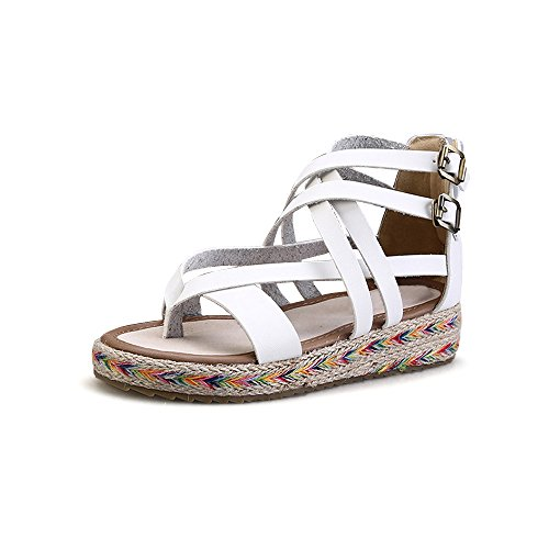Scarpe di Moda Sandali alpargatas aperto di piattaforma caviglia donna #07 bianco