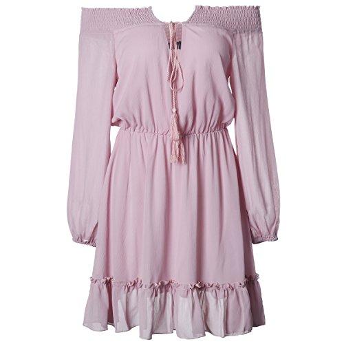 iMELY Damen Kleider Schulterfrei Langarm Sommerkleid MiniKleid Kleid Shirt Rüschen Saum Lang Chiffon Tops- Gr. L, Rosa (Sse Kurz)