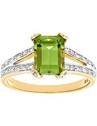Bague - PR6767 DIA+PERIDOT - Femme - Or jaune (9 carats) 2.7 Gr - Peridot - Diamant 1.85 Cts