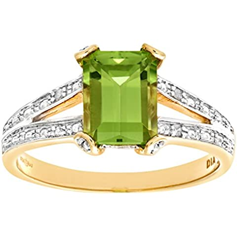 Bague - PR6767 DIA+PERIDOT - Anillo de mujer de oro amarillo (9k) con 23 diamantes y peridotos (talla: