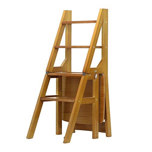 Blumentreppen Leiter-Hocker Massivholz-Leiterstuhl Für Innenbereich Multifunktions-Vierstufen-Leiterhocker Klapp-Treppenstuhl Für Zu Hause-Dachboden Doppelte Trittleiter Tragend 150kg