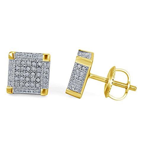 lilu Bijoux Femme en Argent Sterling 925massif Blanc Diamant Véritable Bloc cube carré boucle d'oreilles Clous d'Oreilles à vis 14k Gold Plated